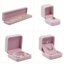 Ékszerdoboz gyűrűhöz, bársony, rózsaszín