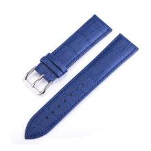 Női óraszíj bőrből, kék 16 mm