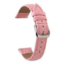 Női óraszíj bőrből, rózsaszín, 20 mm
