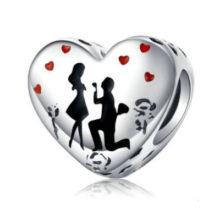 Ezüst charm, szíva alakú, lánykérés