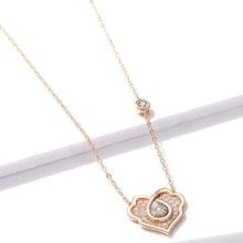 Nyaklánc díszes szívmedállal, ezüst, rosegold