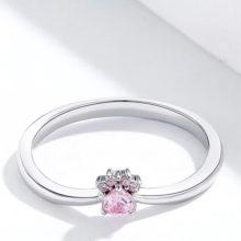 Ezüst gyűrű, mancsos, rózsaszín, 7-es méret