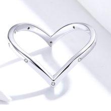 Ezüst gyűrű, szív alakú, 8-as méret