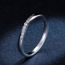 Ezüst gyűrű fehér kristályokkal, 6-os méret