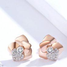 Ezüst fülbevaló, rózsa szívvel, rosegold