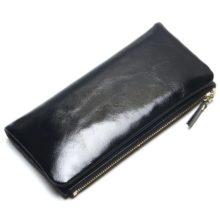 Elegáns, hosszúkás, marhabőr női pénztárca, fekete
