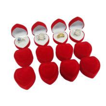 Szív alakú ékszerdoboz, piros
