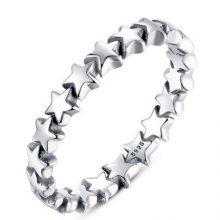 Csillag mintás ezüst gyűrű, 6-os méret (Pandora stílus)