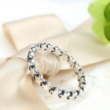 Csillag mintás ezüst gyűrű, 7-es méret (Pandora stílus)